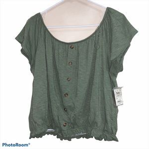 NWT Off the Shoulder XXL Olive Green Crop Top